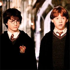 Haha! Harry and Ron with confused and disgusted looks!