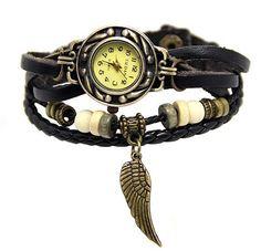handmade leather wrist watch Retro leather wrist watch,Angel's wing wrist watch,wooden beads rope watch,cut leather watch-B54