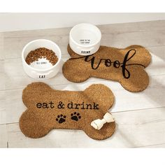 "Avoid messes and spills that those hungry puppies make with this functional woven coir dog bowl placemat featuring printed ""eat & drink"" sentiment. Dog Bowl Mat, Dog Breeds That Dont Shed, Ceramic Dog Bowl, Dog Corner, Dog Cafe, Medium Sized Dogs, Medium Dogs, Winnie, Dog Rooms"