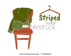 Hand drawn vector illustration of green striped sweater on the brown chair. Hanger on a nail.