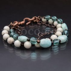 Riverstone & Amazonite Bracelet with Copper — 1 available from Rococo Riche