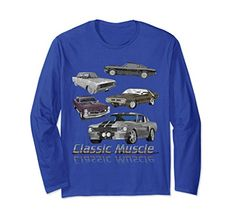 Classic American Muscle Cars Novelty Long Sleeve T-Shirt Model Look, Super Sport, American Muscle Cars, Graphic Tee Shirts, Ford Models, Classic Cars, Long Sleeve Tees, T Shirts For Women, Sleeves