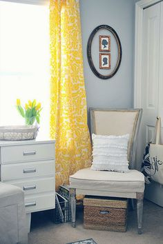 Yellow curtains against my blue walls in the living room....want it!