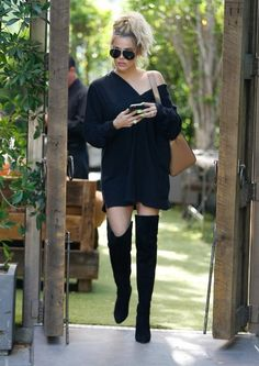 Khloe Kardashian wore paired black thigh high boots and off the shoulder dress to eat lunch with her sisters and momager at The Villa Restaurant inWoodland Hills, while filming Keeping Up With The Kardashians. Thigh High Outfits, Thigh High Boots Outfit, Black Thigh High Boots, Dress With Boots, Pretty Outfits, Stylish Outfits, Fall Outfits, Fashion Outfits, Fashion Trends