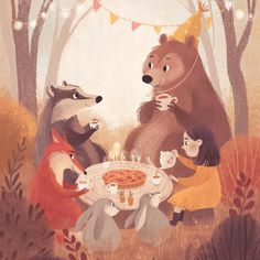 Autumn birthday party ☺️🍂 postcard I did for Margarita Kukhtina Art And Illustration, Illustration Mignonne, Illustration Inspiration, Inspiration Art, Character Illustration, Fall Birthday, You Draw, Illustrators, Fantasy Art
