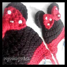 Gorros de crochet, Minnie. Hechos a mano. Handmade by MyMobyDick