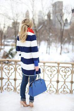 Striped coat.