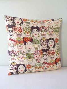 The day of the dead Mexican calaveras, sugar skull, Frida fabric is a must have for any Frida Kahlo fan!