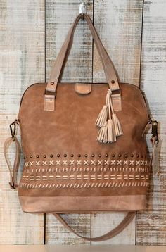 Leather bag Tote and crossbody bag Light brown leather by Percibal, $240.00