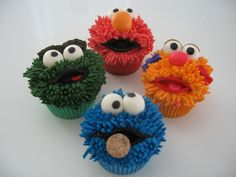 Sesame Street cupcakes @Pipeline Confections - cookie crisp for c. monster
