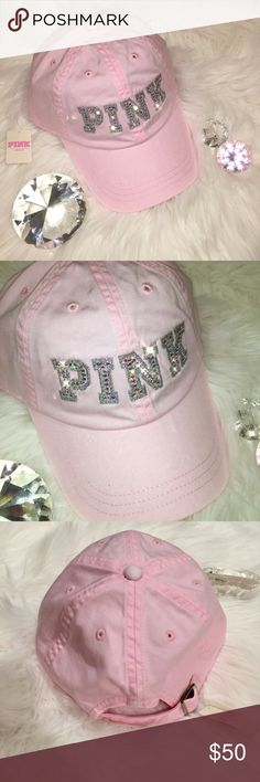2464a9a206c63 Bling Swarovski Crystal VS Pink Baseball Ball Cap Brand New VS PINK Ball Cap  hand embellished