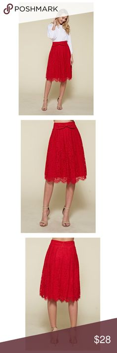 Red Lace Mid Skirt Midi Lace skirt.  Does not have a waist band. Model is wearing small. 100% Polyester Color Red Skirts Midi