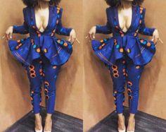 BLUE GEMSTONE PEPLUM dress ankara african print by HouseOfIzzi