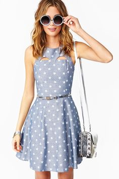 Starry Chambray Dress