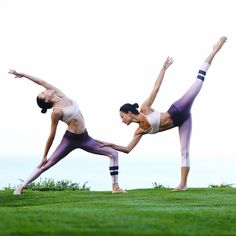 The @chintwins being goddesses in our Aria Bra & Airbrush Capri. #aloyoga #beagoddess