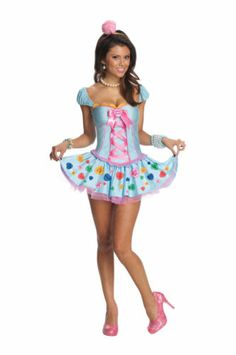 Womens Candy Heart Button Halloween Costume Sexy Cute Dress Circus Adult s M L   eBay