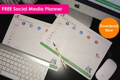 FREE Downloadable Social Media Planner now including Facebook, Twitter, LinkedIn, Instagram, You Tube and Pinterest.