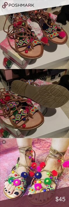 Brand New Chinese Laundry PoshBead Lace up sandals Brand new, never worn. Comes with all packaging and box. Comes with extra bag of puff balls. Chinese Laundry Shoes Sandals