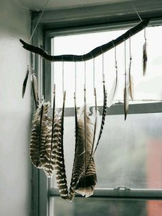 Driftwood Branch and feather mobile Feather Crafts, Feather Art, Feather Mobile, Forest Bedroom, Branch Decor, My New Room, Mobiles, Diy Projects, Diy Crafts