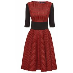 LATTORI Black and Red Charms Elbow Length Sleeves Dress in New Look... ($69) ❤ liked on Polyvore featuring dresses, short dresses, half sleeve dresses, red and black cocktail dress, mini dress and red and black short dresses