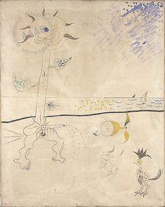 Joan Miro - Le piège -  Huile sur toile de 1924 montrée lors de l'Exposition internationale du surréalisme en 1959-1960.  Peinture signée et datée en bas à droite : Miró 1924   - From the collection of Andre Breton