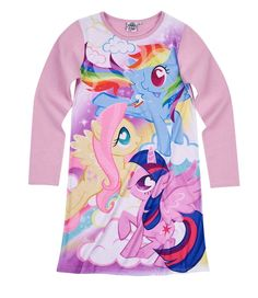 Hasbro My Little Pony Girls Long Sleeve Nightie, Nightdress 3-10 years - Purple