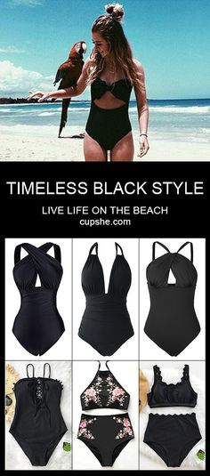 Good color, better black! Treat yourself to the black swimsuits. Classic and timeless. You'll be the most elegant and all eyes on you~ Free shipping! Check the collection at cupshe.com!
