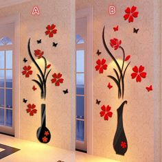 Buy DIY Fashion Vase Flower Tree Crystal Arcylic Wall Stickers DecalHome Decor at Wish - Shopping Made Fun Wallpaper Stickers, Wall Stickers, Wall Decals, Flower Wall, Flower Vases, Flower Tree, Home Wall Painting, Collage Foto, Family Tree Frame