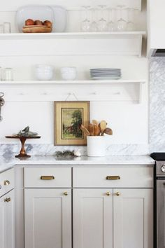 8 Great Neutral Cabinet Colors for kitchens — The Grit and Polish Farmhouse Kitchen New Kitchen Cabinets, Kitchen Dining, Kitchen Decor, Kitchen Ideas, Kitchen Shelves, Decorating Kitchen, Kitchen Grey, Shaker Cabinets, Kitchen Counters