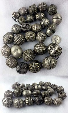 Collection of 27 Antique silver beads; includes beads from Morocco, Yemen… Ethnic Jewelry, Indian Jewelry, Beaded Jewelry, Jewelry Shop, Silver Jewelry, Jewelry Design, Jewelry Making, Jewelry Stores, Jewellery Box