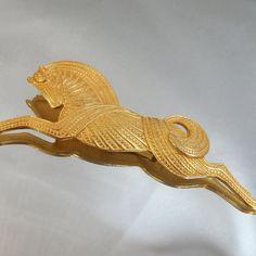Vintage Greek Horse Brooch Large Gold Tone Stallion by waalaa, $22.99