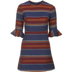 TOPSHOP Striped Bell Sleeve Dress ($90) ❤ liked on Polyvore featuring dresses, topshop, multi, women dresses, stripe dress, hippy dress and henley dress