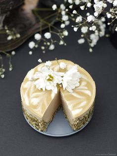 Tahini Orange Blossom Cheesecake (no-bake & free from: nuts, gluten & grains, dairy, eggs, oil, and refined sugar)