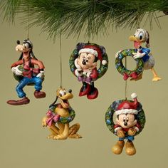 Mickey Mouse - Fab Five with Wreaths - Christmas Ornaments Mickey Mouse Christmas Ornament, Disney Christmas Decorations, Diy Halloween Decorations, Peanuts Christmas, Cozy Christmas, Holiday Fun, Hallmark Christmas, Christmas Time, Christmas Ideas