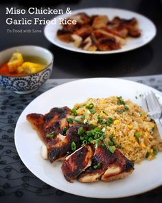 Grilled Miso Chicken with Garlic Fried Rice - To Food with Love Easy Japanese Recipes, Asian Recipes, Healthy Recipes, Japanese Food, Japanese Dishes, Miso Chicken, Grilled Chicken, Food Obsession, Dinner Menu
