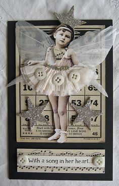 Beautiful way to alter vintage Bingo cards. Atc Cards, Bingo Cards, Card Tags, Greeting Card, Altered Books, Altered Art, Altered Tins, Paper Dolls, Art Dolls