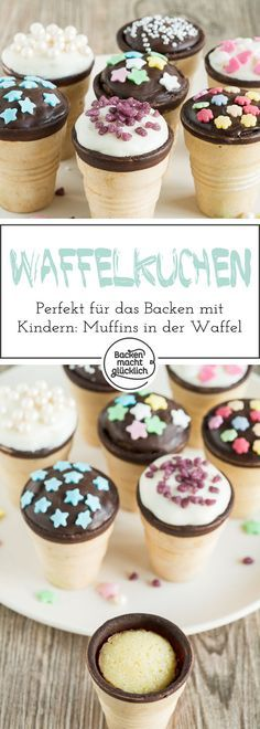 Diese Waffelbecher-Kuchen sind ein tolles Rezept fürs Backen mit Kindern: Einfa… These Waffle Cups are a great recipe for baking with kids: simple, colorful and delicious! In addition, the cakes in the ice cream cone can be eaten well by hand. Easy Smoothie Recipes, Baking With Kids, Simple Baking, Pumpkin Spice Cupcakes, Morning Food, Fall Desserts, Waffle Desserts, Food Cakes, Ice Cream Recipes