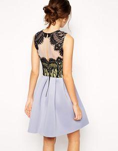 Enlarge ASOS Premium Bonded Skater Dress With Lace Top