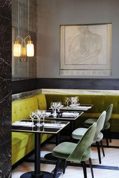 Banquette seating at Monsieur Bleu by Joseph Dirand, Remodelista