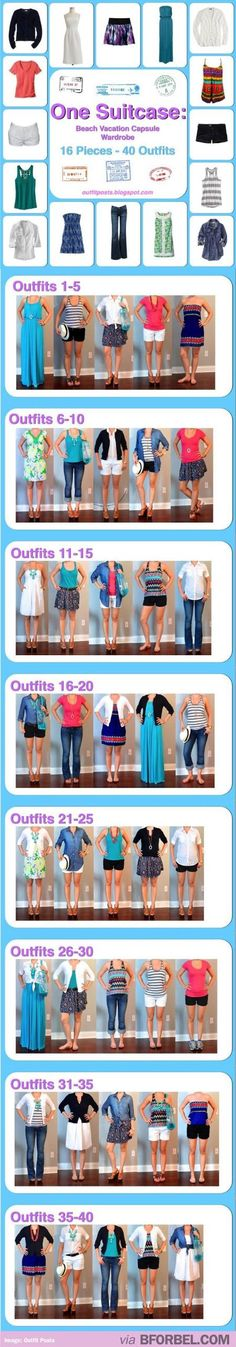 Beach vacation suitcase packing.  16 pieces to create 40 outfits.  I don't like all of these pieces but would be a good template/outfit ideas for mix & #Travel stuff #travel things| http://travelaccessorystuff.blogspot.com