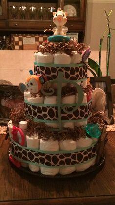 Safari diaper cake!