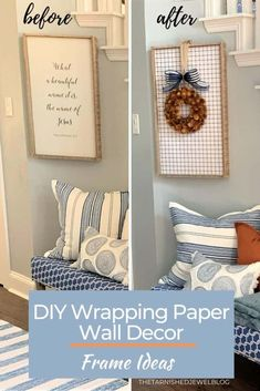 Does your wall art/decor need a quick, easy, and budget-friendly makeover?  Cover it with wrapping paper.  Check out DIY Wrapping Paper Wall Decor: Frame Ideas by thetarnishedjewelblog.com for more info. #wrappingpapercrafts #wrappingpaper @targetstylehome #diywalldecor  #diywallart #fallwreath #fallwreaths #fall2020 #fallhome #fallhomedecor #fallhometour #diyfallcrafts #diyfalldecor #diyfalldecorations #entrywaydecor #fallentryway Paper Wall Decor, Frame Wall Decor, Diy Wall Art, Diy Wall Decor, Frames On Wall, Decor Crafts, White Wrapping Paper, Wrapping Paper Crafts, Fall Entryway