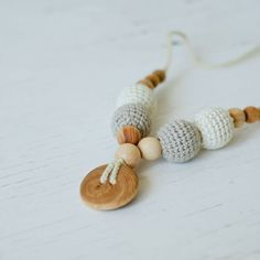 100% Certified Organic Cotton - Nursing Pendant / Teething Necklace for Mom to Wear - neutral oatmeal and natural white