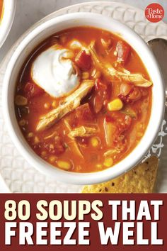 80 Soups to Store in the Freezer Freezer Soups, Easy Freezer Meals, Make Ahead Meals, Soups To Freeze, Freezer Cooking, Easy Soup Recipes, Crockpot Recipes, Cooking Recipes, Healthy Recipes