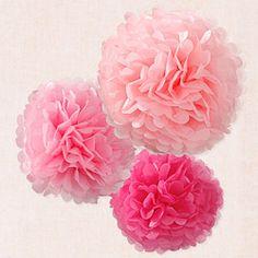 Pompones papel rosas