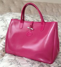 LONGCHAMP Roseau Handbag Pink Fuchsia Leather Box Tote Bag Made In France