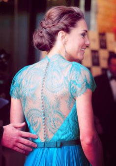 lace turquoise dress - absolutely stunning on Kate Middleton.