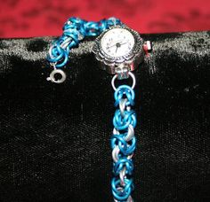 Blue and Silver Byzantium Weave Watch with extendor chain.  £20.00 plus P&P