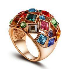 Anel com Cristal Swarovski Elements banhado a Ouro Rosa 18k - Rainha de corações - Alice Tesla