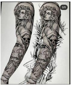 Full Arm Tattoos, Best Sleeve Tattoos, Black Tattoos, Hand Tattoos, Body Art Tattoos, Tattoo Design Drawings, Tattoo Sketches, Tattoo Designs, Poseidon Tattoo